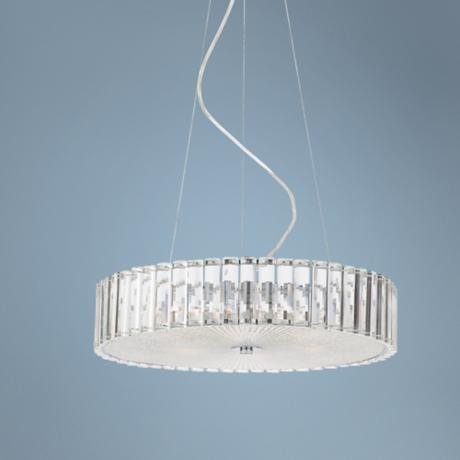 "Modern Clear Glass Fluted 18 3/4"" Wide Chandelier"