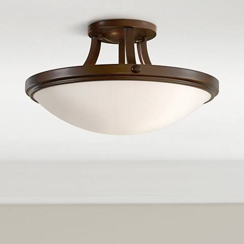 "Feiss Perry Bronze 15 3/4"" Round Ceiling Light"