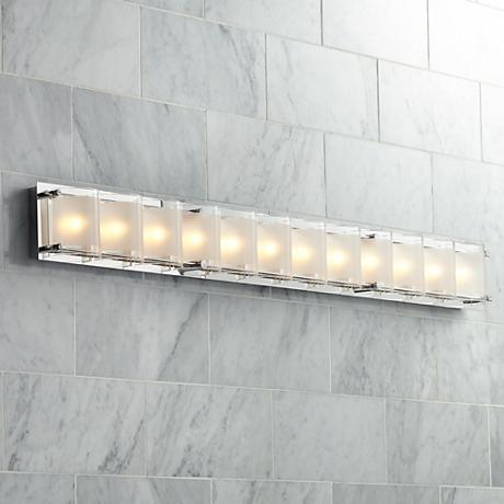 "Possini Euro Design Glass Bands 45"" Wide Bath Light"
