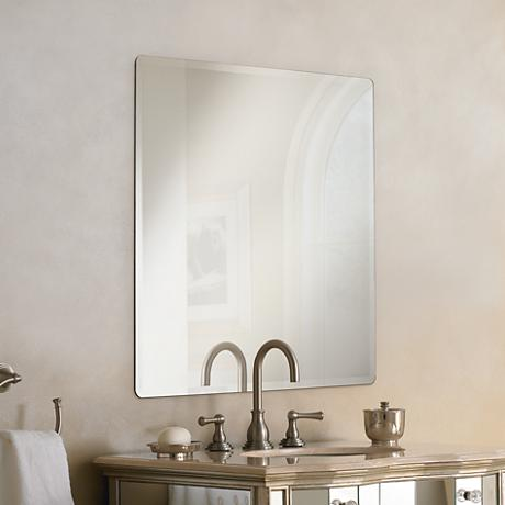 "Galvin Frameless Beveled 36"" Square Wall Mirror"