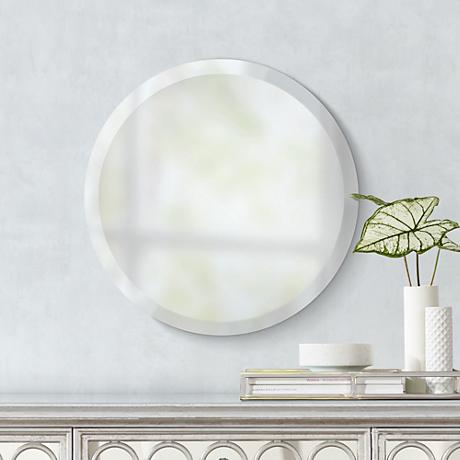 "Adonia Round Frameless 18"" Wide Beveled Wall Mirror"