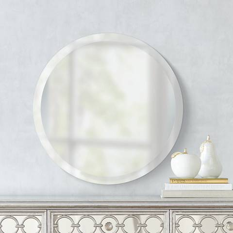 "Round Frameless 24"" Wide Beveled Mirror"
