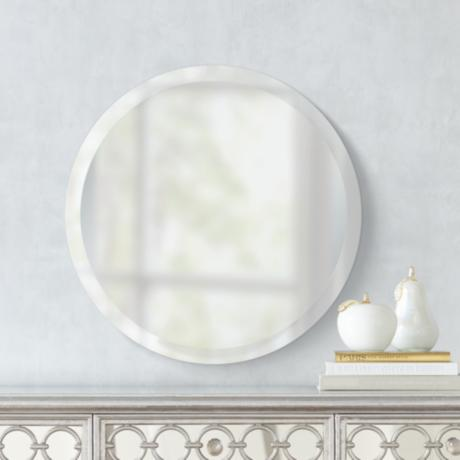 Round Frameless 24 Quot Wide Beveled Mirror P1430 Lamps Plus