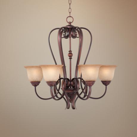 "Bronze with Scavo Glass 27"" Wide Chandelier"