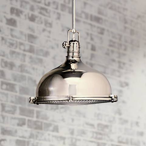 "Kichler Nickel with Fresnel Lens 13 1/2"" Wide Pendant Light"