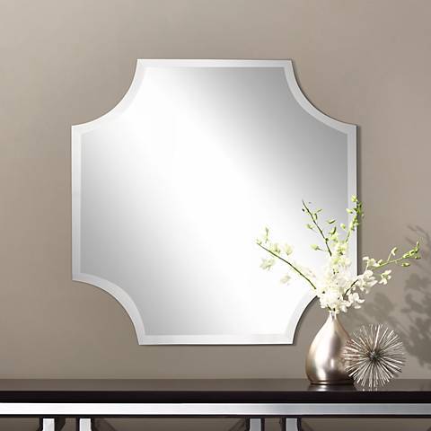 "Cut Corner Frameless 30"" High Beveled Wall Mirror"