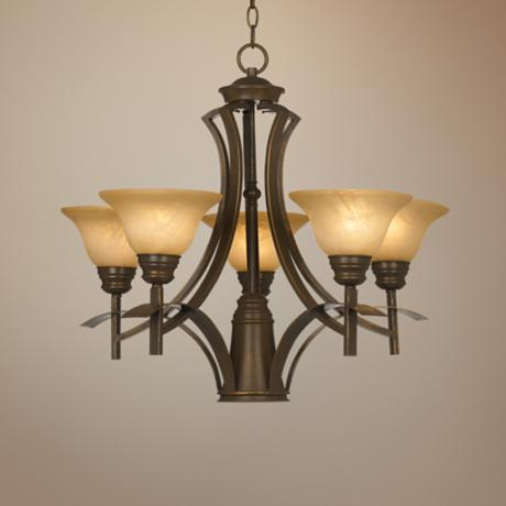 "Bronze with Amber Scavo Glass 25"" Wide Chandelier"