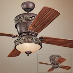 "42"" Monte Carlo Villager Walnut Ceiling Fan with Light Kit"