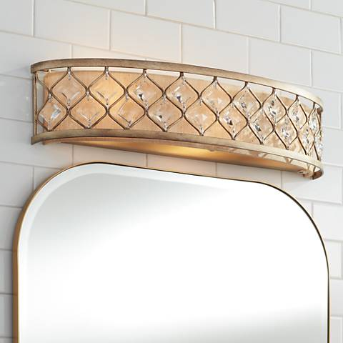 "Jeweled Golden Bronze 25"" Wide Bathroom Wall Light"