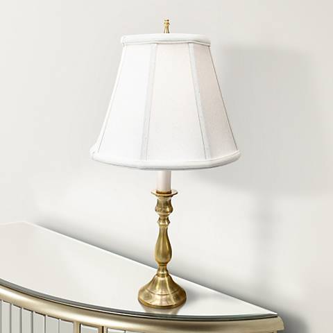 Solid Brass White Shade Candlestick Accent Table Lamp