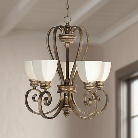 Bronze Finish with Opal Glass 5-Light Chandelier