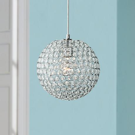 "Crystal Beaded 10"" Globe Pendant Light"