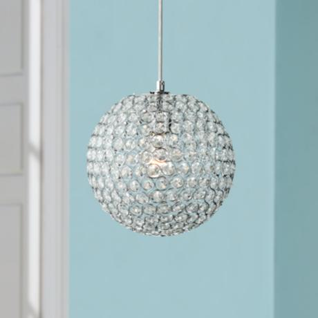 "Crystal Beaded 10"" Round Pendant Light"