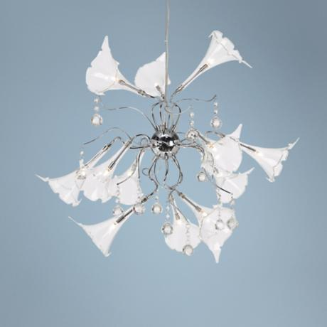 "Possini Clear Floral Art Glass 23"" Wide Pendant Chandelier"