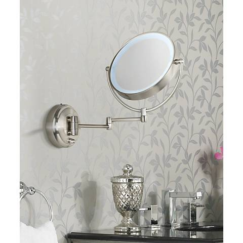 "Cordless LED Pivoting 9"" Wide Satin Nickel Wall Mount Mirror"