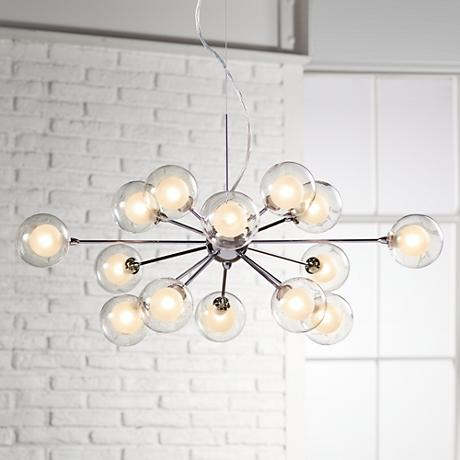 Possini Euro Design Glass Sphere 15-Light Pendant Chandelier
