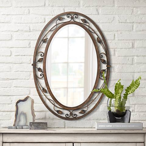 "Oval Wall Mirror eden park collection oval 34"" high wall mirror - #p5008 