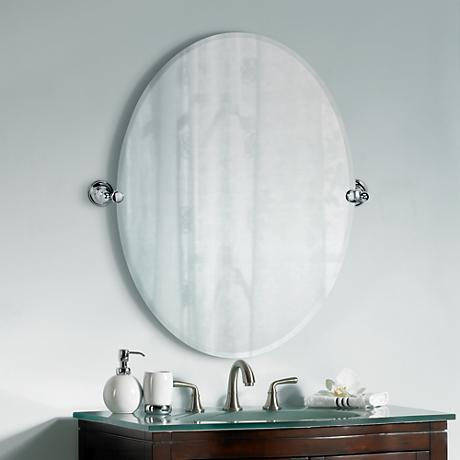 "Gatco Tiara Chrome 32"" High Frameless Oval Wall Mirror"