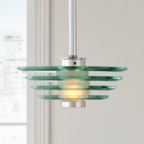 Stacked Glass Discs Mini Pendant Light