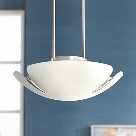 "Satin Nickel and Frosted Glass 16 1/2"" Wide Pendant Light"