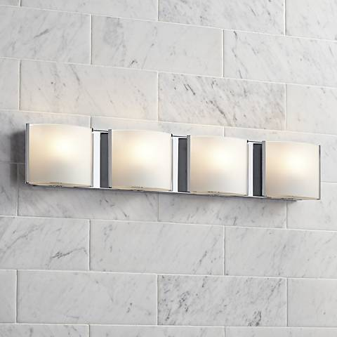 "Frosted Glass Bands 26 1/2"" Wide Bathroom Wall Light"
