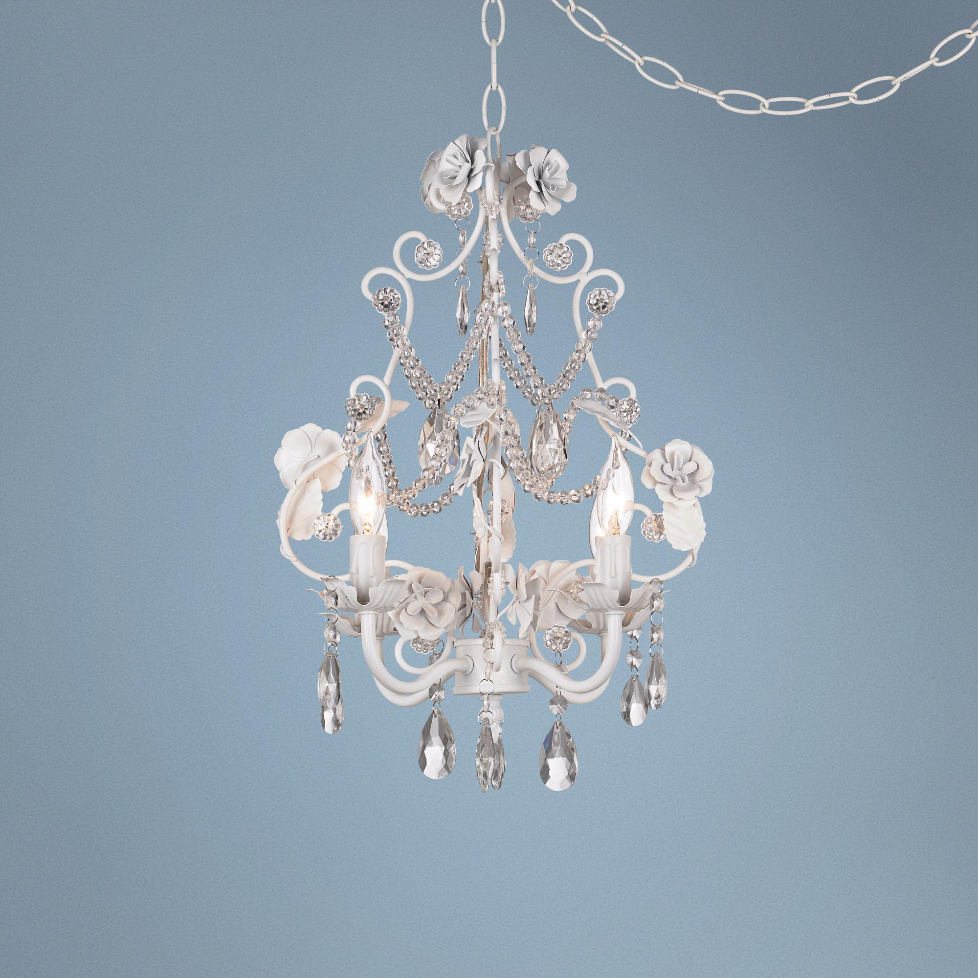 White Floral With Crystal Accents Plug In Swag Chandelier