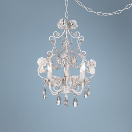 summary for white floral with crystal accents plug in swag chandelier. Black Bedroom Furniture Sets. Home Design Ideas