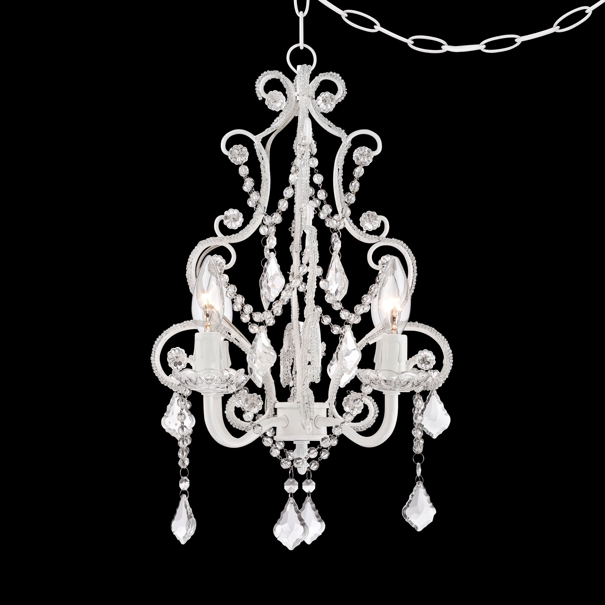 white with crystal accents plugin swag chandelier