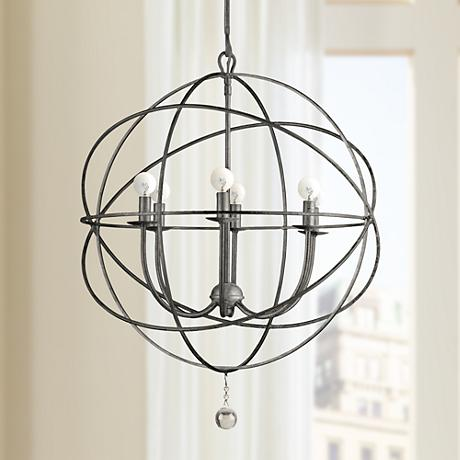 "Crystorama Solaris English Bronze 28"" Wide Pendant Light"
