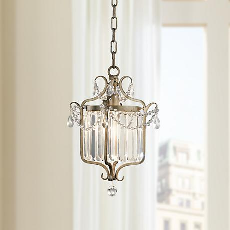 "Feiss Gianna Scuro 10 1/2"" Wide Gilded Silver Chandelier"