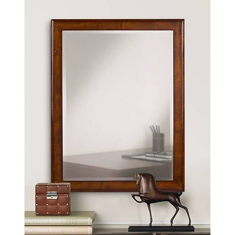 "Vernon Cherry Wood Finish 35"" High Vanity Mirror"