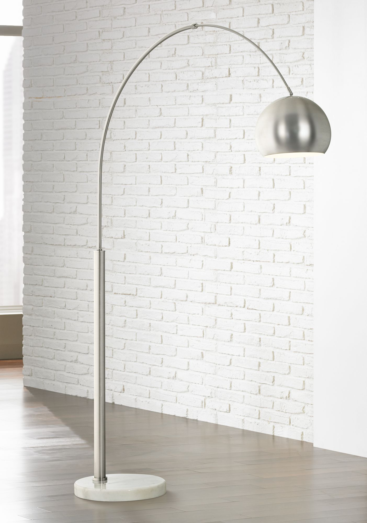 basque steel and brushed nickel arc floor lamp - Arc Floor Lamps