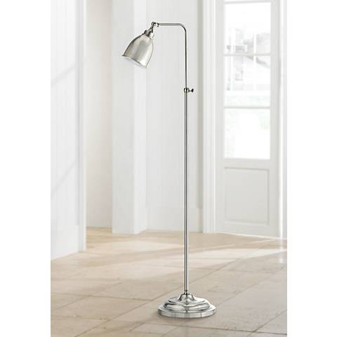 Brushed Steel Metal Adjustable Pole Pharmacy Floor Lamp