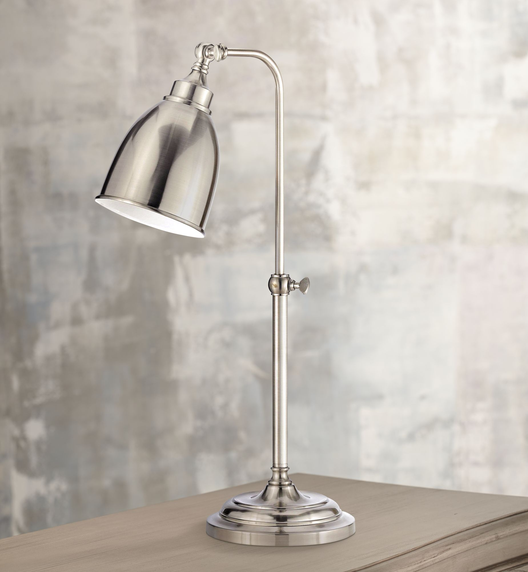 Captivating Brushed Steel Metal Adjustable Pole Pharmacy Table Lamp   #P9574 | Lamps  Plus