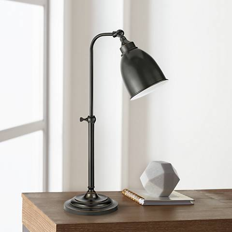 Dark Bronze Metal Adjustable Pole Pharmacy Table Lamp