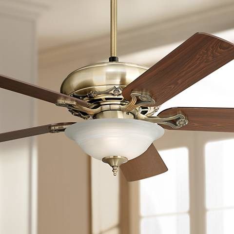 "52"" Casa Vieja Trilogy Brass Ceiling Fan with Light Kit"