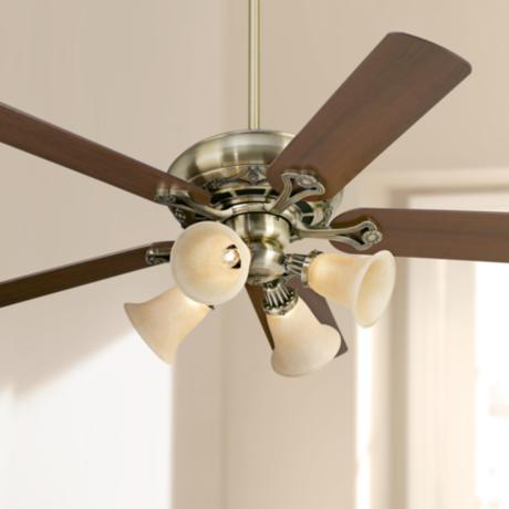 "52"" Casa Vieja® Trilogy™ Brass - Amber Ceiling Fan"