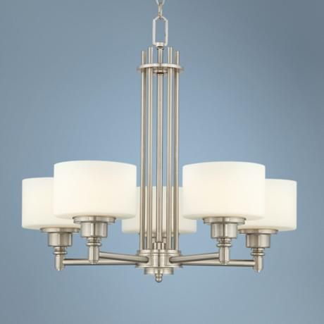 "Possini Euro Opal Glass 26 1/2"" Wide 5-Light Chandelier"