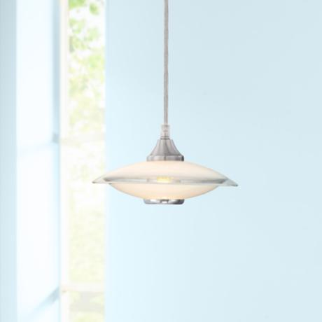 Satin Nickel and Glass Mini Pendant Chandelier