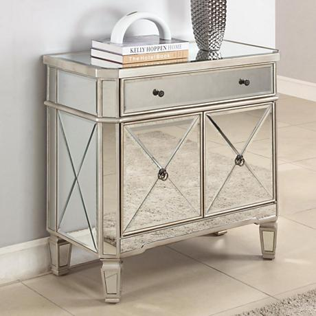 "Hailey 32"" Wide Mirrored Console Accent Cabinet"