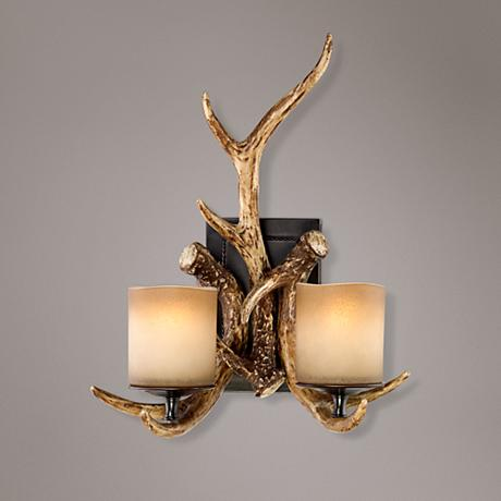 Fake Candle Wall Lights : Faux Deer Antlers Candle Glass 17 1/2