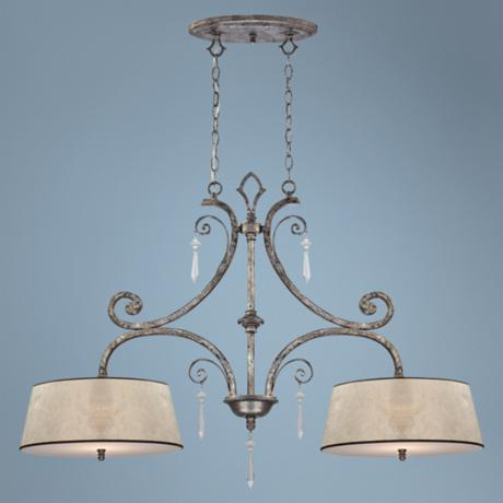 Kendra Mottled Silver Two Light Island Chandelier