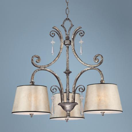 Kendra Mottled Silver Oyster Mica Three Light Chandelier