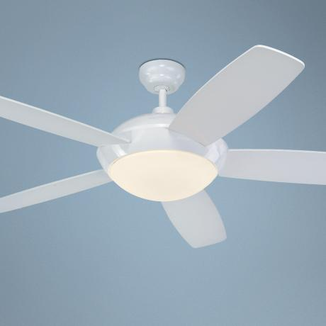 "52"" Monte Carlo Sleek White Ceiling Fan with Light Kit"