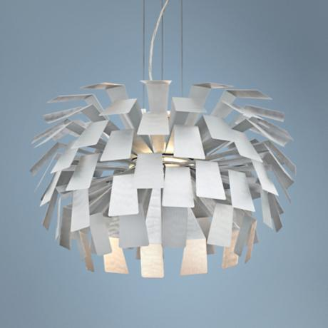 "Mod Brushed Metal Panel 24 1/2"" Wide Retro Chandelier"