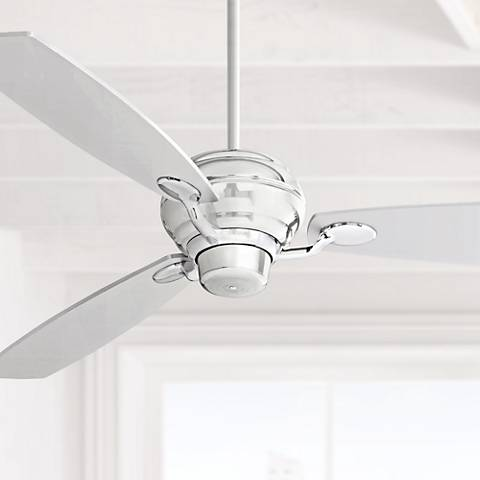 "60"" Spyder Silver Square Tip Blades Chrome Ceiling Fan"