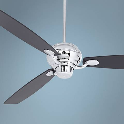 "66"" Spyder Black Square Tip Chrome Ceiling Fan"