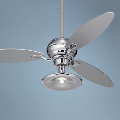 "60"" Spyder™ Chrome Ceiling Fan With Light Kit"