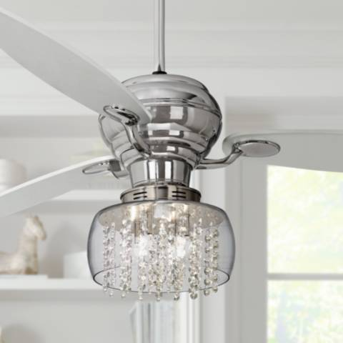 60 Quot Spyder Chrome Ceiling Fan With Chrome Crystal Light