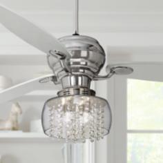 "60"" Spyder Chrome Ceiling Fan with Chrome Crystal Light Kit"